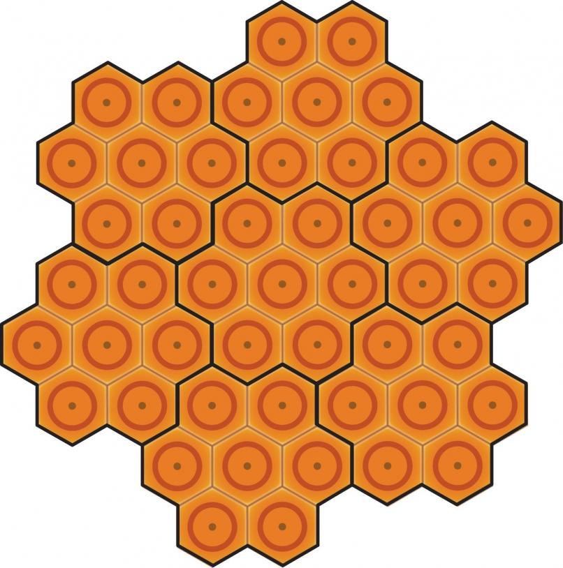 Exemple de pavage d'une antenne active par sept panneaux identiques comportant chacun sept éléments rayonnants