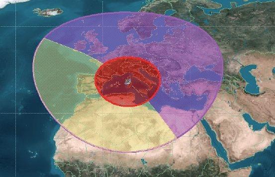 Exemples d'adaptation du diagramme d'antennes à la zone observée : focalisation sur une zone restreinte (en rouge) ou dépointage vers une zone d'intérêt (en jaune)